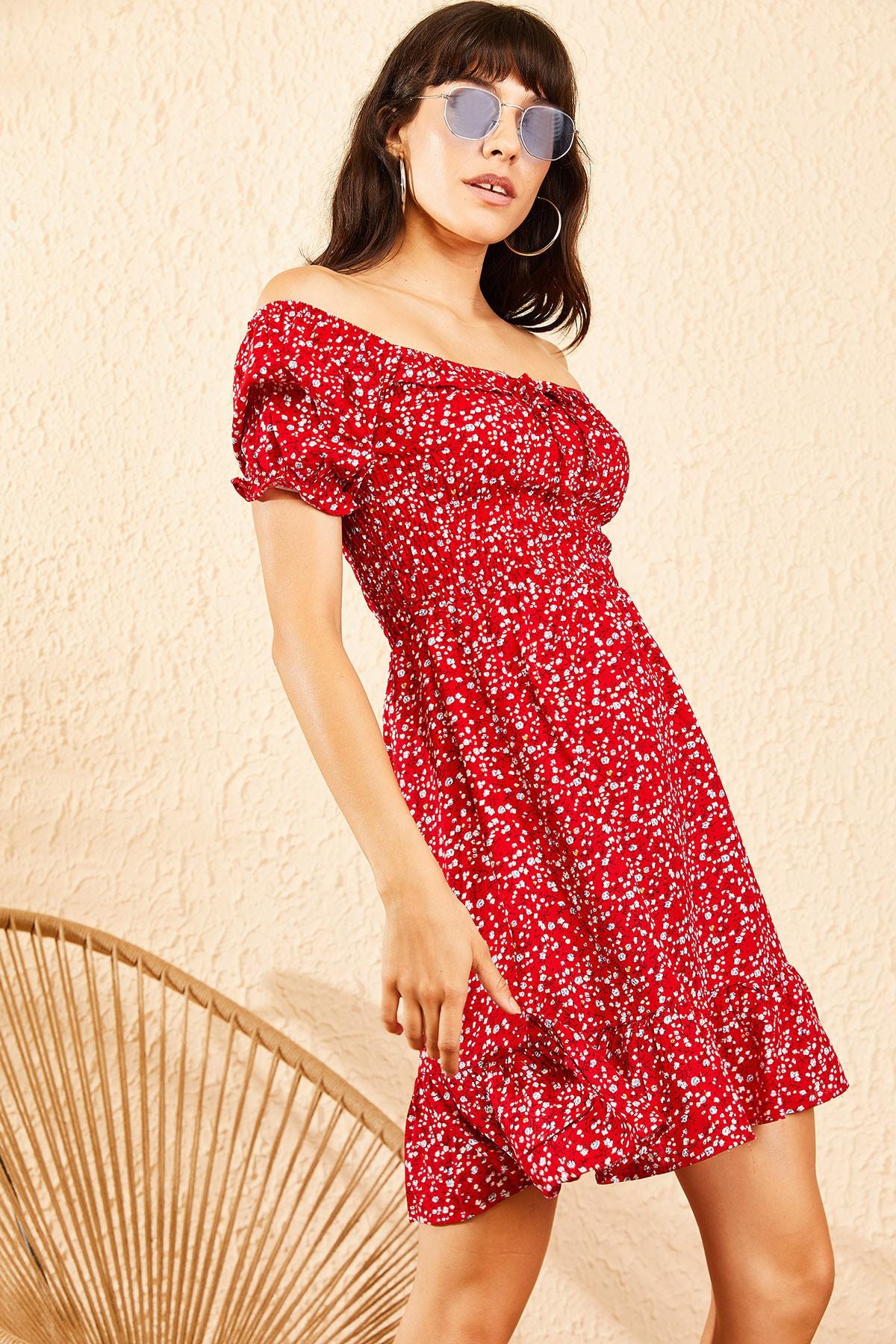 Bianco Lucci Kadın Kırmızı Gipeli İp Askılı Küçük Çiçek Desenli Elbise 10091046 3