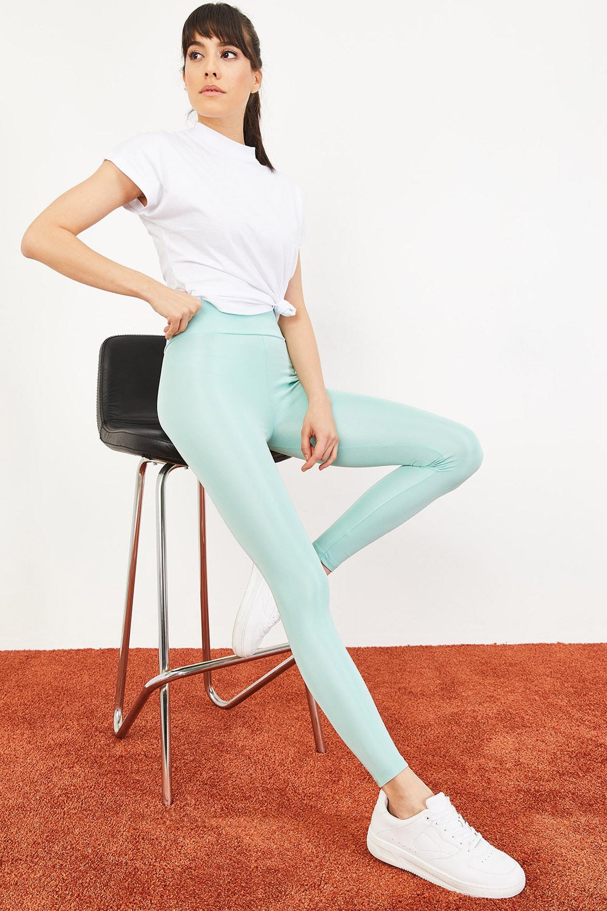 Bianco Lucci Kadın Mint Yeşili Uzun Kemerli Toparlayıcı Parlak Disko Tayt Fitness 2253399 0