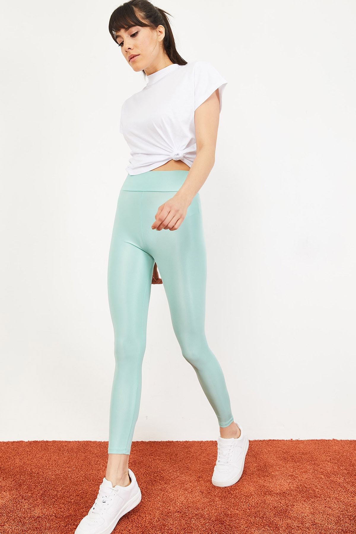Bianco Lucci Kadın Mint Yeşili Uzun Kemerli Toparlayıcı Parlak Disko Tayt Fitness 2253399 3