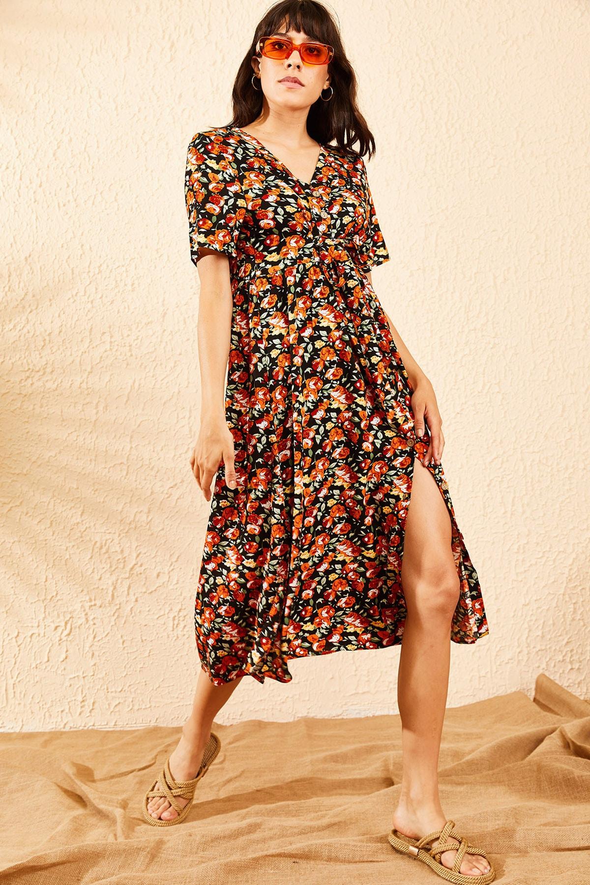 Bianco Lucci Kadın Turuncu Çiçek Desenli Beli Kuşaklı Düğmeli Rahat Elbise 10091009 0