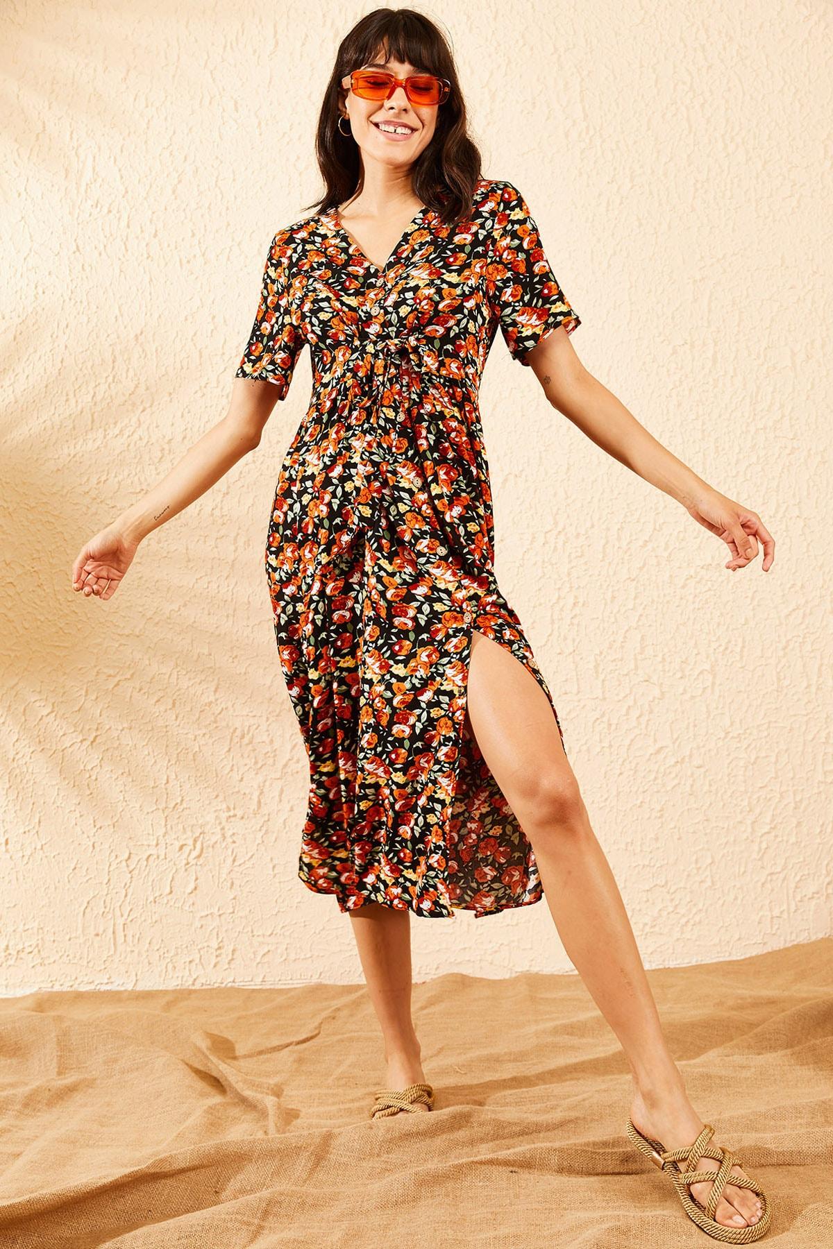 Bianco Lucci Kadın Turuncu Çiçek Desenli Beli Kuşaklı Düğmeli Rahat Elbise 10091009 1