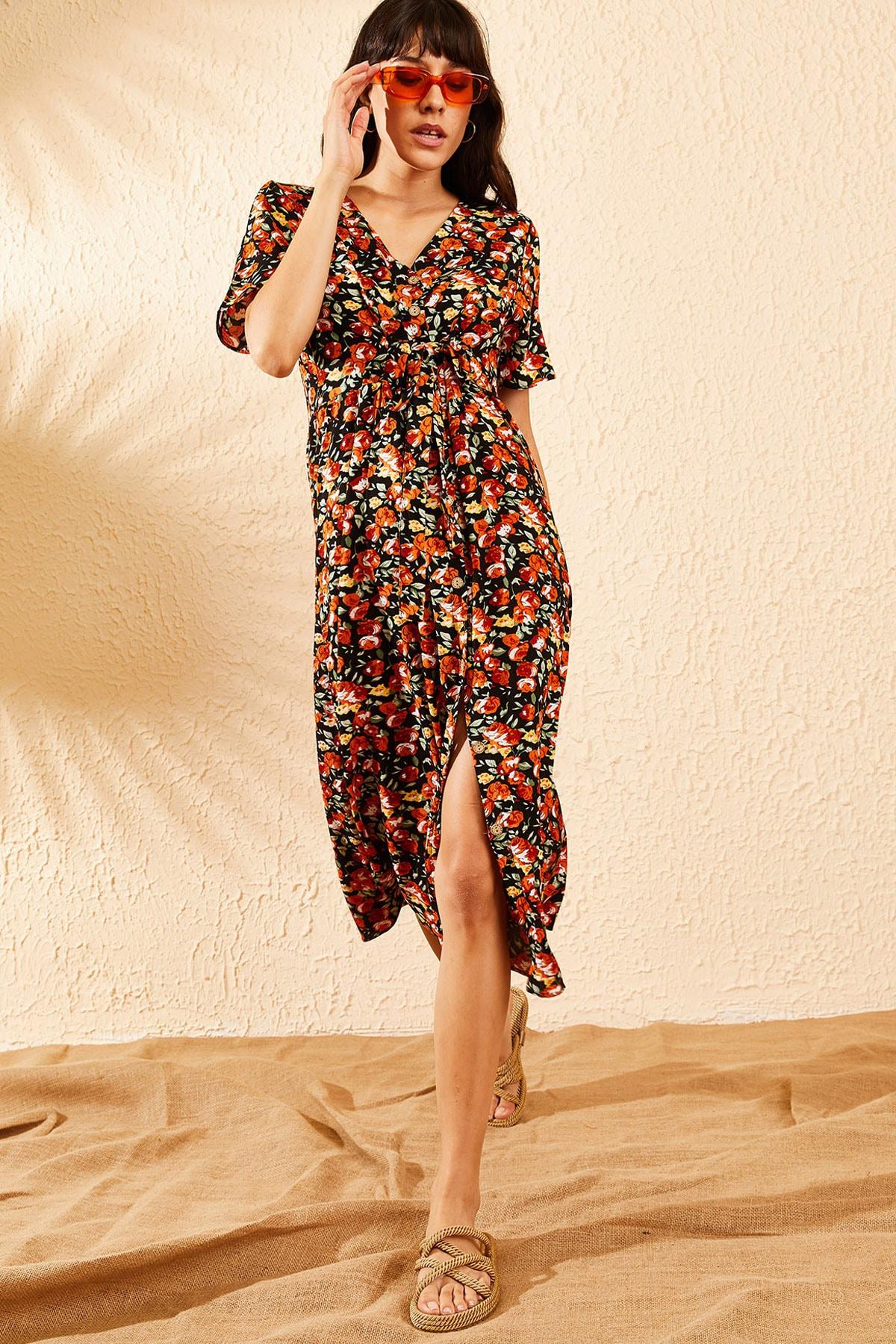 Bianco Lucci Kadın Turuncu Çiçek Desenli Beli Kuşaklı Düğmeli Rahat Elbise 10091009 3