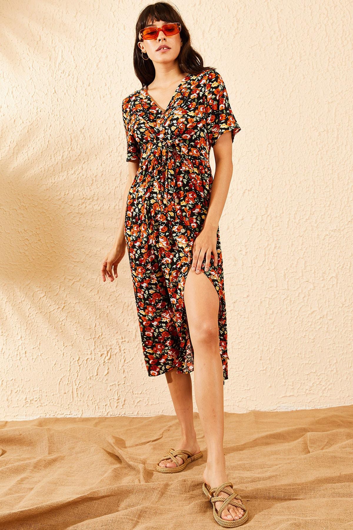 Bianco Lucci Kadın Turuncu Çiçek Desenli Beli Kuşaklı Düğmeli Rahat Elbise 10091009 4