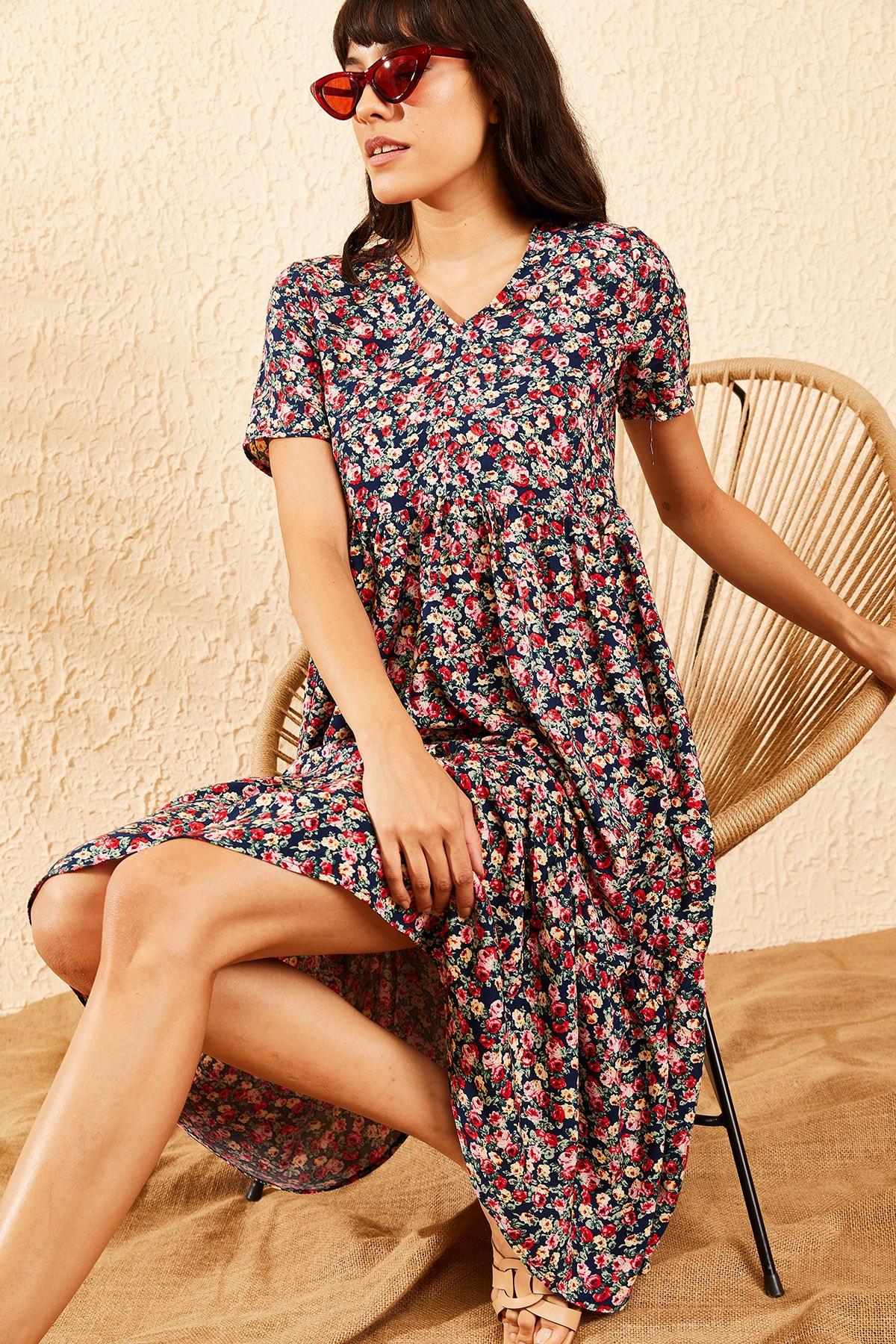 Bianco Lucci Kadın Lacivert Beli Lastikli V Yaka Eteği Fırfırlı Kloş Elbise 10091007 0