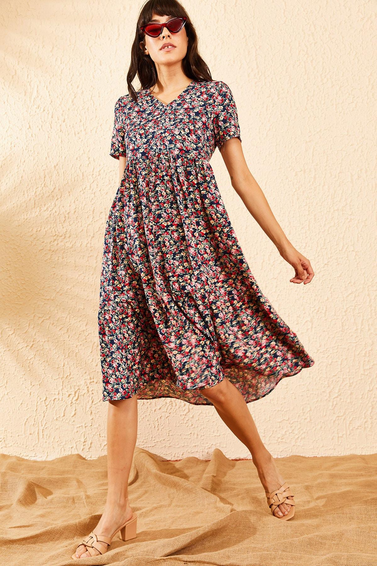Bianco Lucci Kadın Lacivert Beli Lastikli V Yaka Eteği Fırfırlı Kloş Elbise 10091007 1