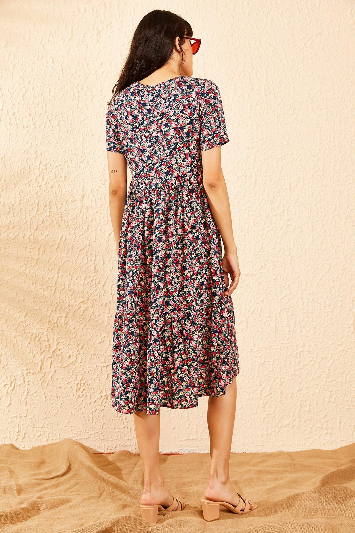 Bianco Lucci Kadın Lacivert Beli Lastikli V Yaka Eteği Fırfırlı Kloş Elbise 10091007 3