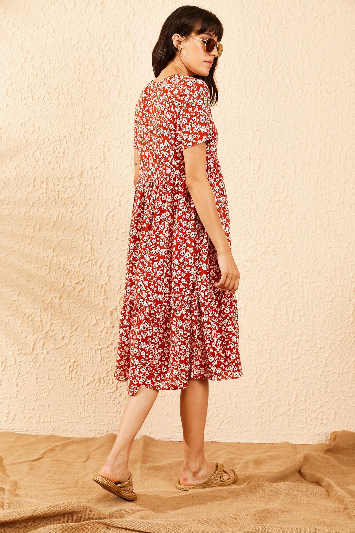 Bianco Lucci Kadın Kiremit Beli Lastikli V Yaka Eteği Fırfırlı Kloş Elbise 10091007 1