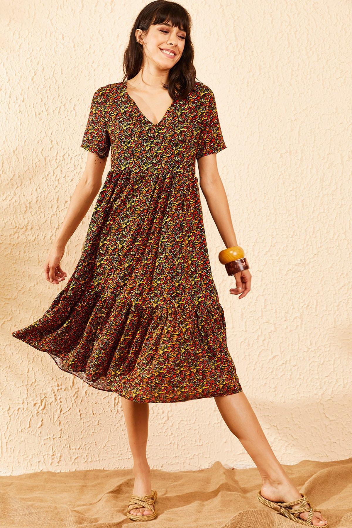 Bianco Lucci Kadın Multi Beli Lastikli V Yaka Eteği Fırfırlı Kloş Elbise 10091007 2