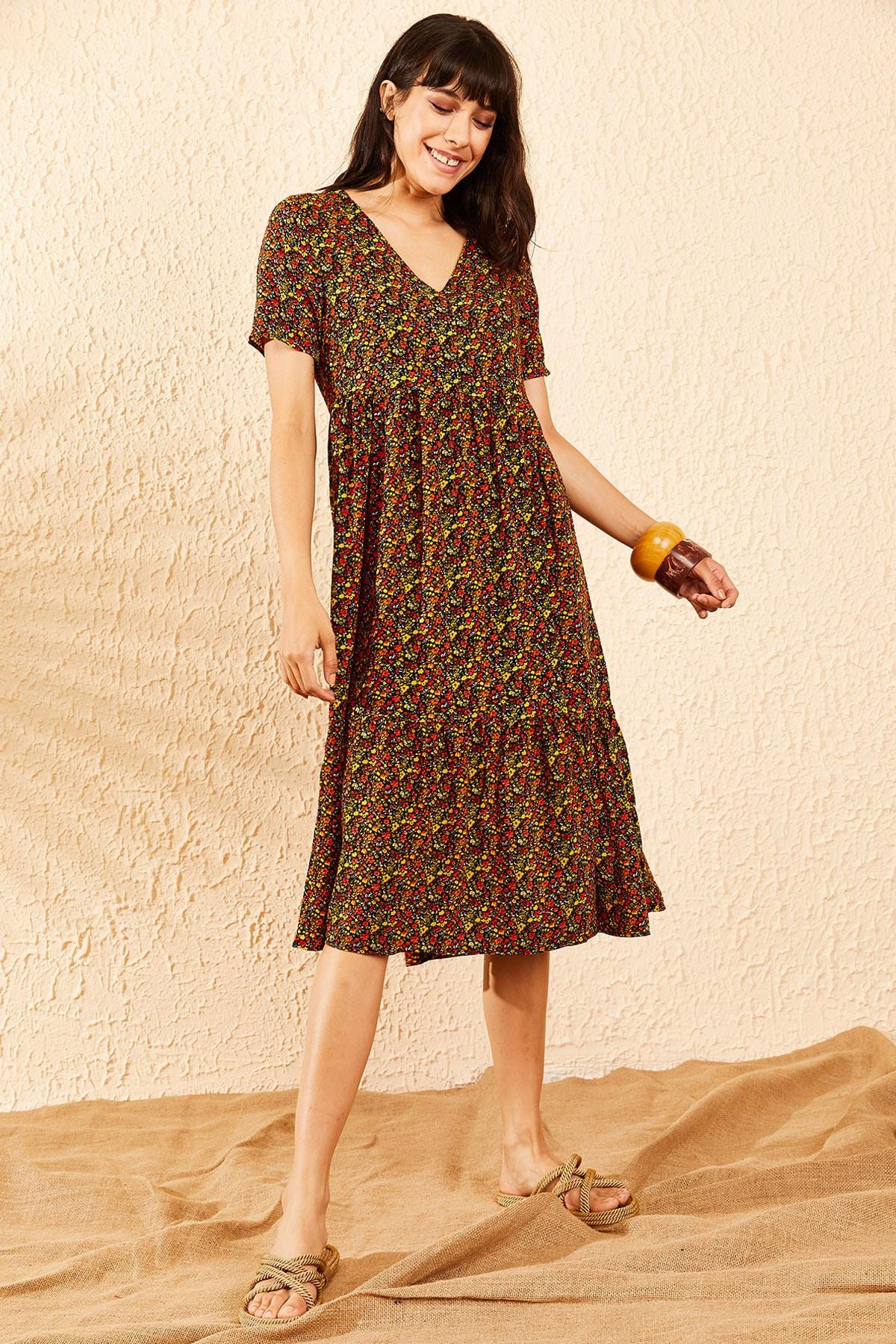 Bianco Lucci Kadın Multi Beli Lastikli V Yaka Eteği Fırfırlı Kloş Elbise 10091007 4