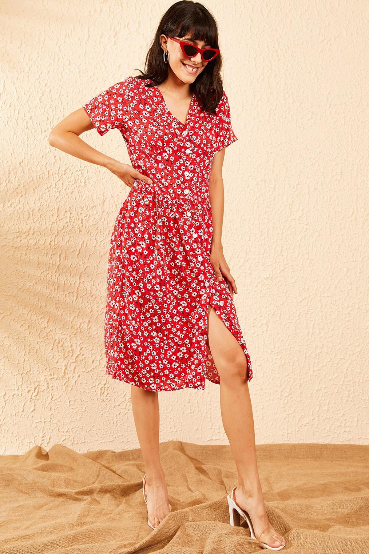 Bianco Lucci Kadın Kırmızı Düğmeli V Yaka Kloş Elbise 10091039 0