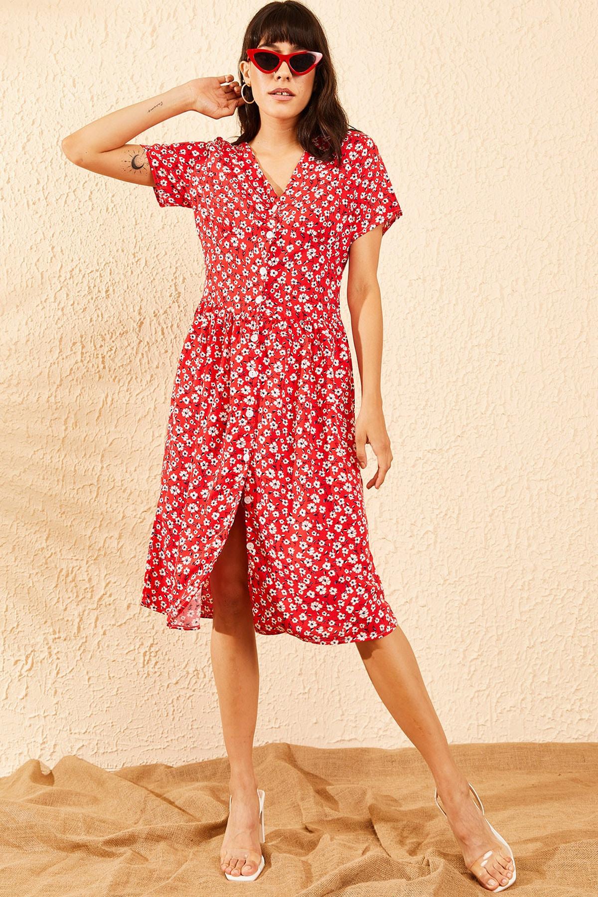 Bianco Lucci Kadın Kırmızı Düğmeli V Yaka Kloş Elbise 10091039 2