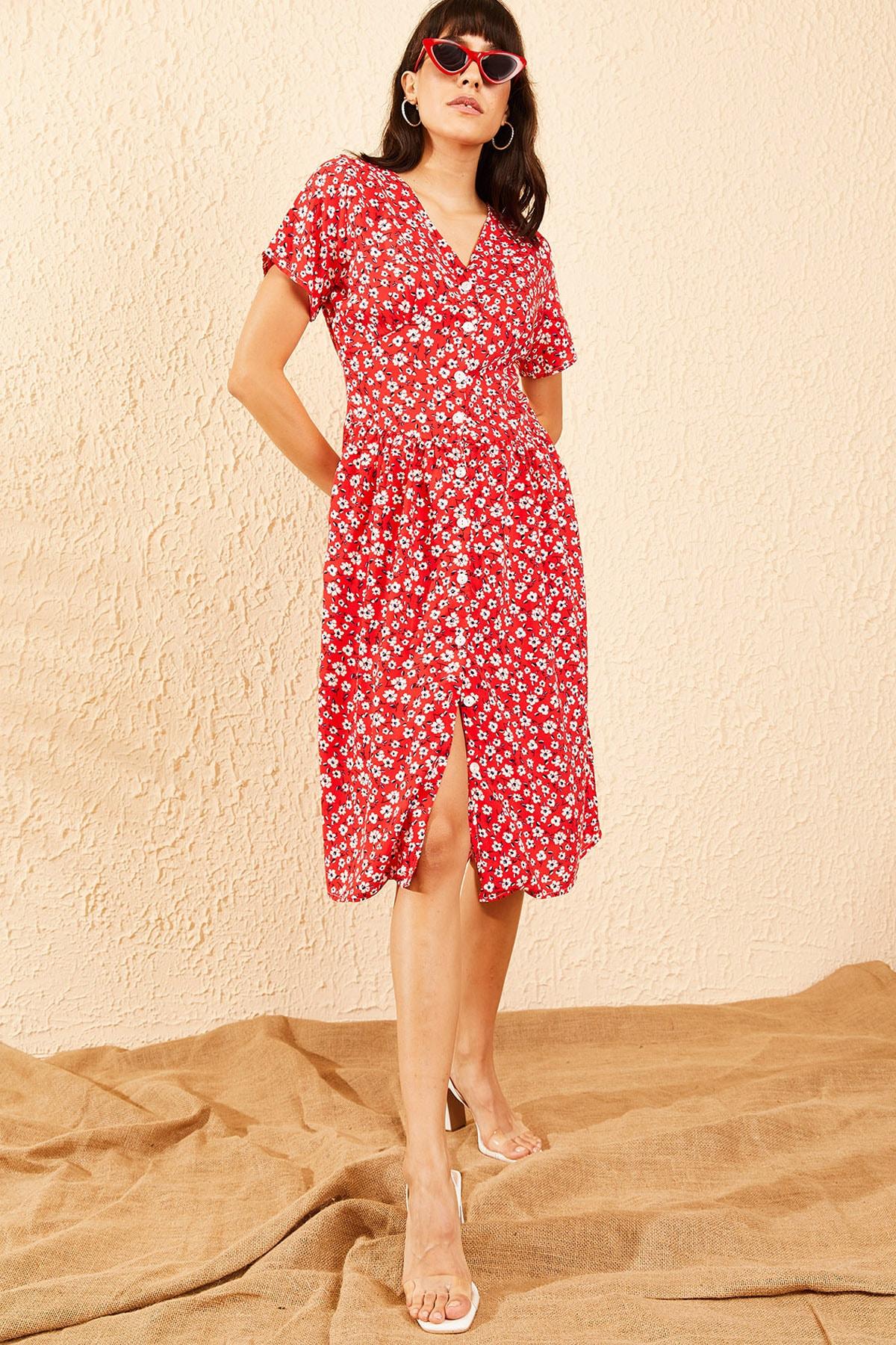 Bianco Lucci Kadın Kırmızı Düğmeli V Yaka Kloş Elbise 10091039 3