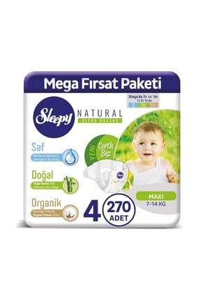 Sleepy Natural Bebek Bezi 4 Numara Maxi 270 Adet 0