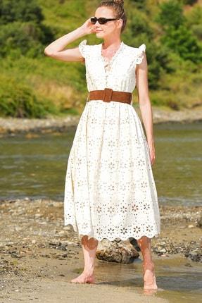 Trend Alaçatı Stili Kadın Bej Kendinden Kemerli Astarlı Premıum Güpür Elbise Alc-X4411 1