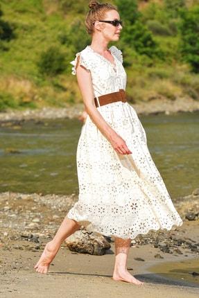 Trend Alaçatı Stili Kadın Bej Kendinden Kemerli Astarlı Premıum Güpür Elbise Alc-X4411 4