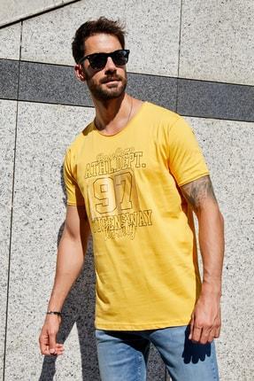 Sateen Men Erkek Hardal Slimfit Baskılı T-Shirt 1