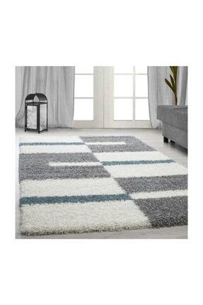 AYYILDIZ Desenli shaggy halı Kareli ve çizgili motif 3 cm hav yüksekliği Gri Mavi Beyaz Renkli 100x200 cm 0