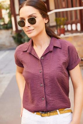 armonika Kadın Mürdüm Kısa Kol Gömlek Arm-19Y001088 2