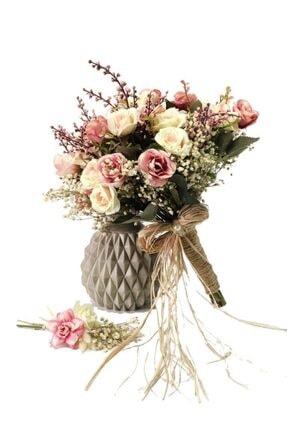 Nettenevime Gelin Buketi Gelin Çiçeği Yapay Çiçek - Damat Yaka Çiçeği 0