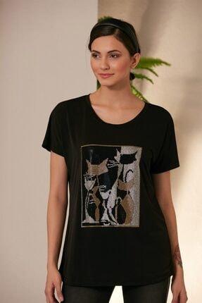 Rmg Kadın Siyah Kedi Desenli T-shirt 0