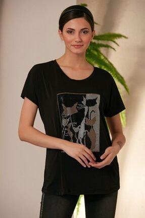 Rmg Kadın Siyah Kedi Desenli T-shirt 1