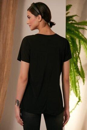 Rmg Kadın Siyah Kedi Desenli T-shirt 4