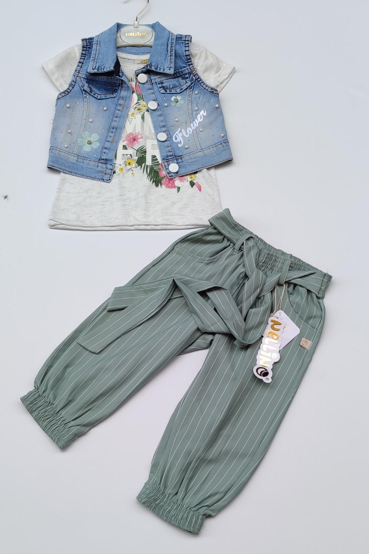 Kız Çocuk Kot Yelek Keten Pantolon Tşort Üçlü Takım
