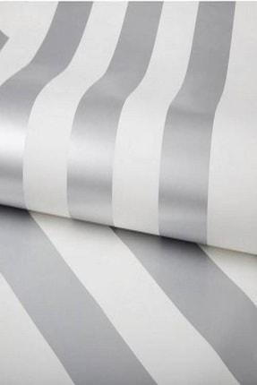 Design Time Gümüş Rengi Çizgili Duvar Kağıdı (5 M²)  1911 0