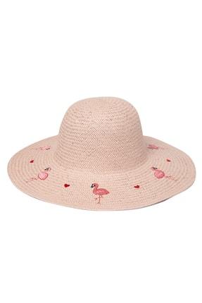 OnMyHead Kadın Pudra Flamingo Desenli Hasır Şapka 0