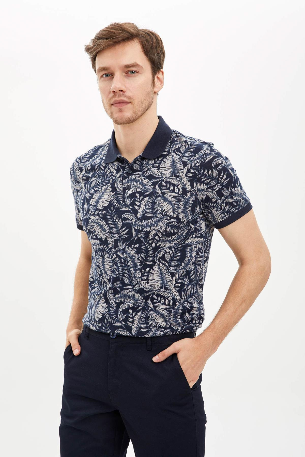 Erkek Çivit Mavisi Desenli Polo Yaka Slim Fit Pamuklu T-Shirt N6725AZ.20SM.IN75