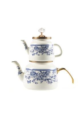 DEDEMİN EMAYELERİ Vintage Alt-üst Emaye Çaydanlık Suluk:2,6 lt- Demlik:1,1 lt 0
