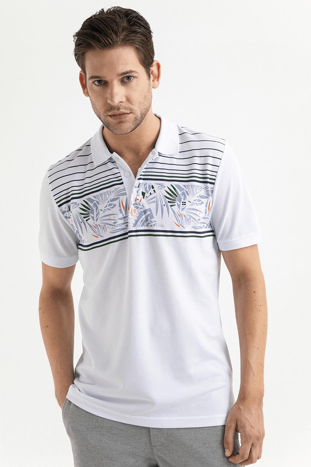 Avva Polo Yaka Baskılı T-Shirt 0