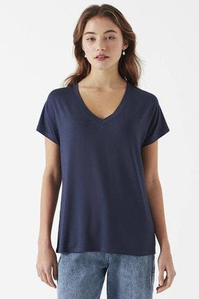 Mavi V Yaka Mavi Basic Tişört 2