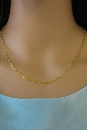 VELCCİ Kadın Gümüş Ince Forse Zincir 24 Ayar Altın Kaplama Kolye Özel 0.70mm Mücevher 1