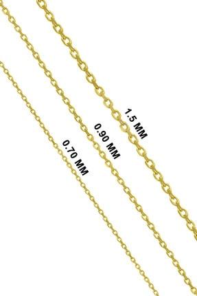 VELCCİ Kadın Gümüş Ince Forse Zincir 24 Ayar Altın Kaplama Kolye Özel 0.70mm Mücevher 4