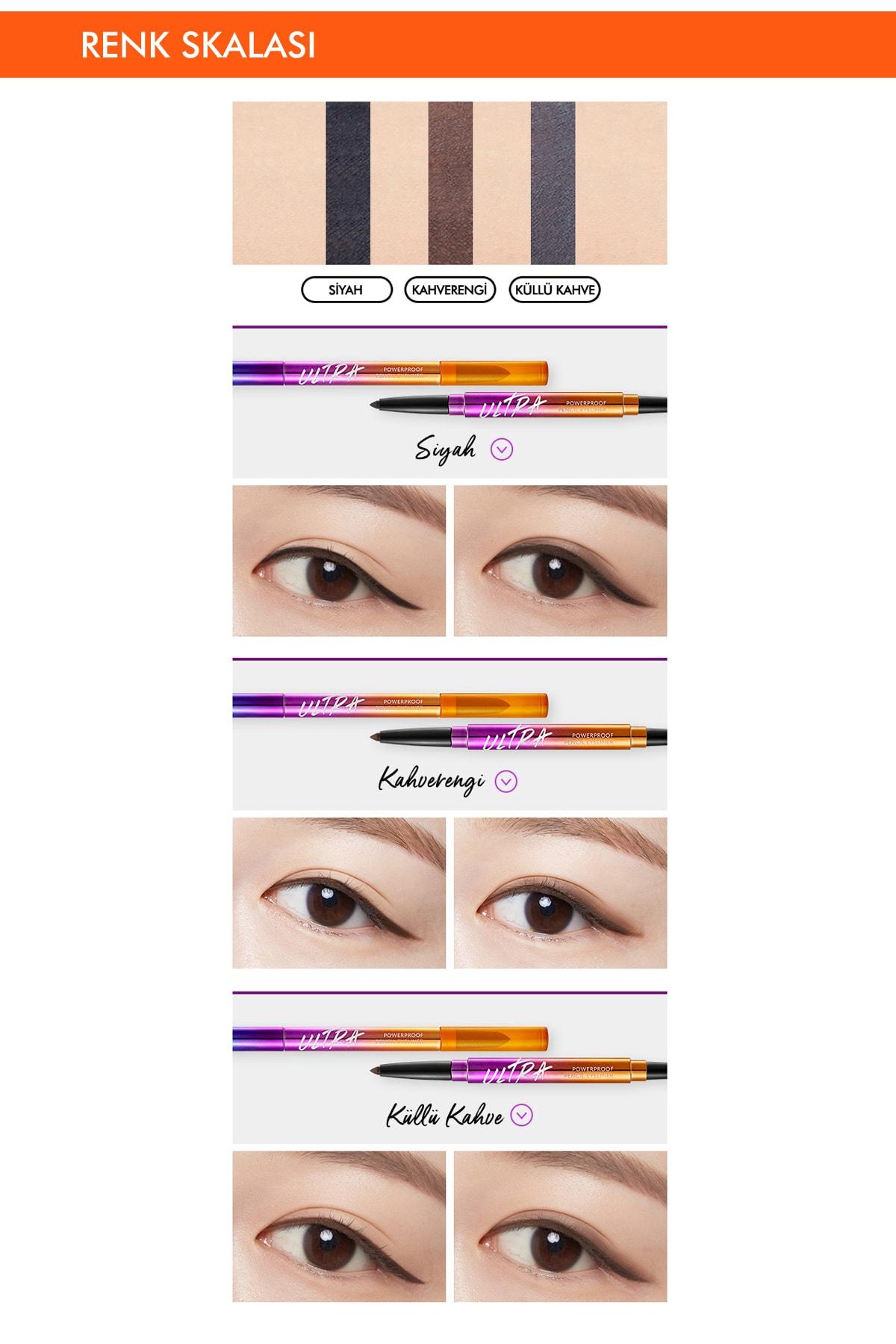 Missha Suya Dayanıklı Kalıcı Jel Göz Kalemi Ultra Powerproof Pencil Eyeliner Ash Brown 3
