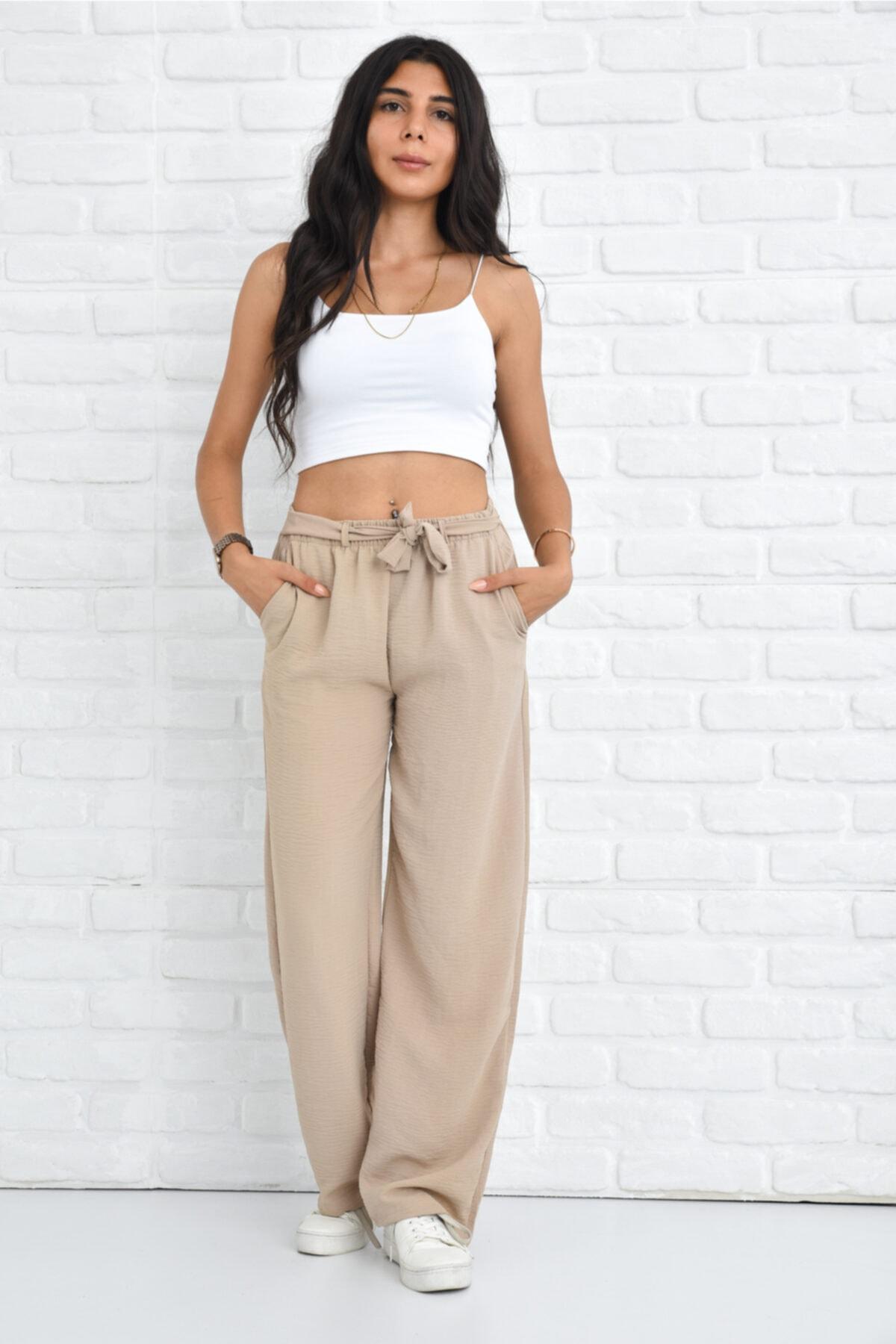 Kadın Krem Palazzo Yazlık Beli Lastikli Bol Paça Tiril Aerobin Pantolon