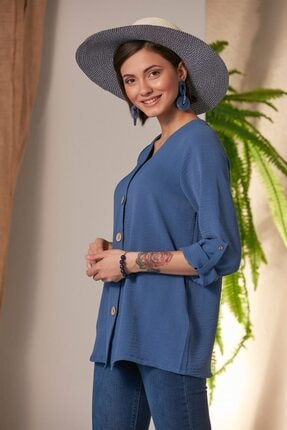 Rmg Kadın Laciver Düğme Detaylı Gömlek 2