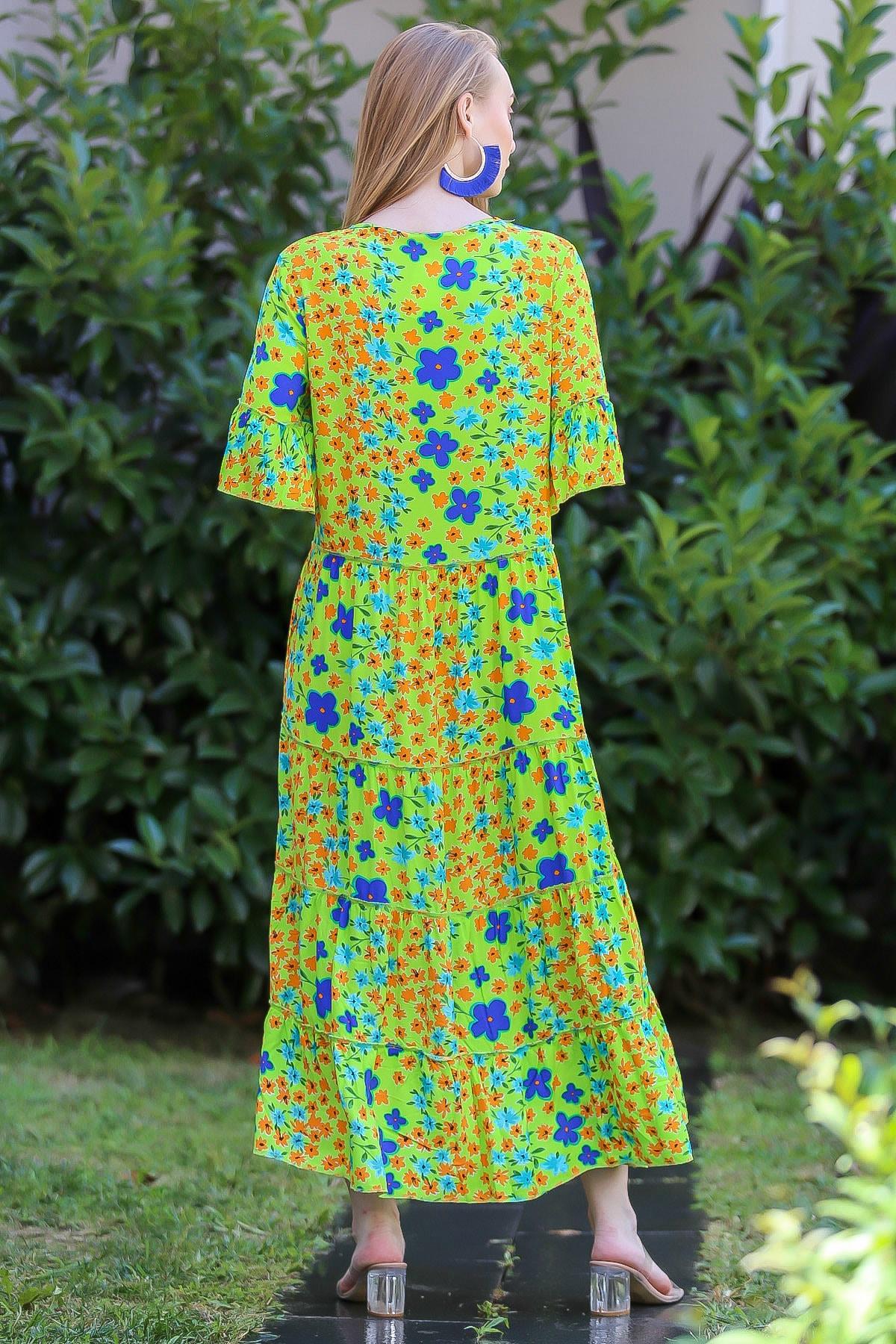 Chiccy Kadın Yeşil Bohem Çıtır Çiçek Desenli El Işi Püskül Detaylı Salaş Elbise M10160000El96565 3