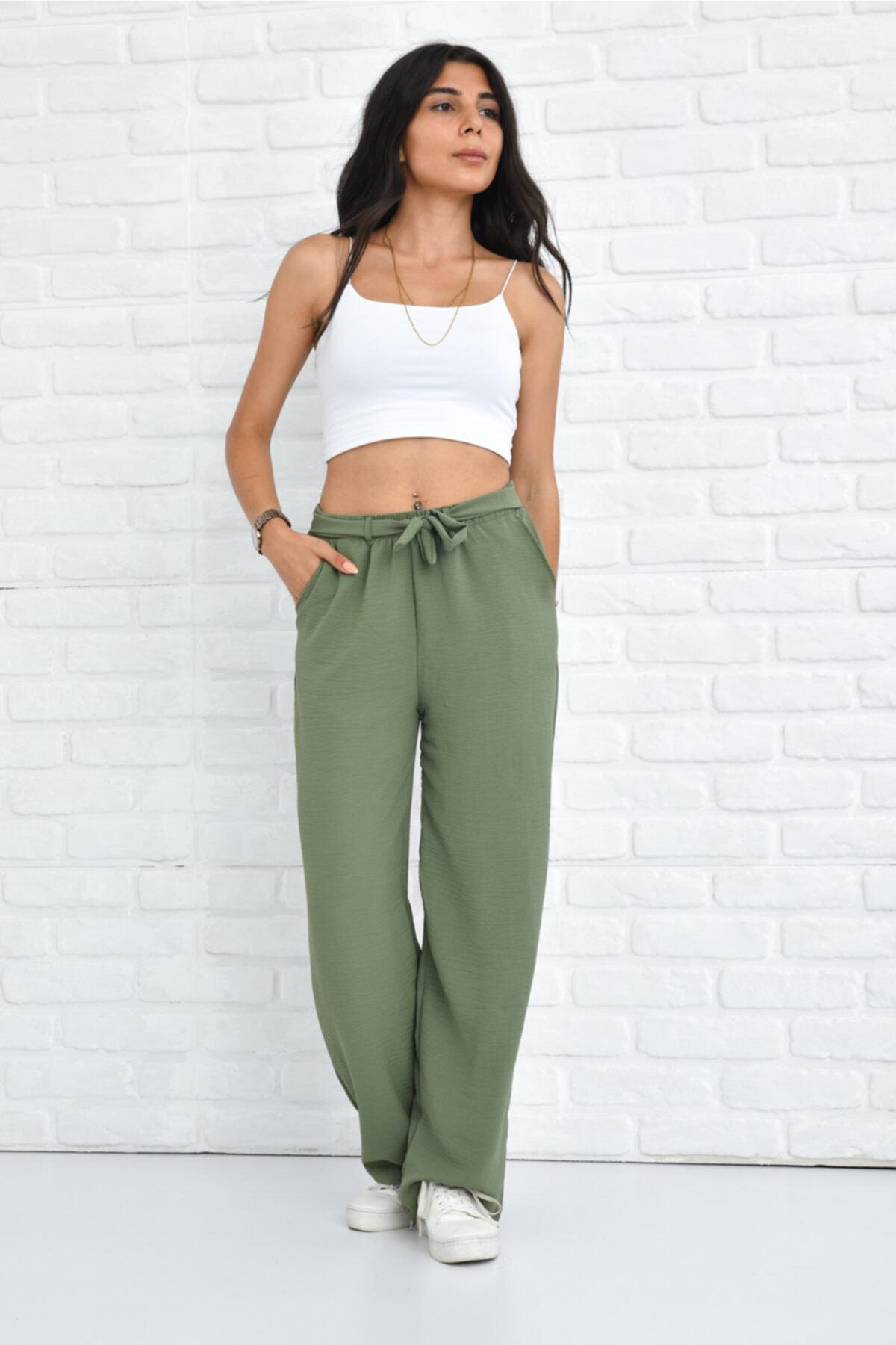 Kadın Haki Palazzo Yazlık Beli Lastikli Bol Paça Tiril Aerobin Pantolon