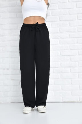 Orjinshop Kadın Siyah Palazzo Yazlık Beli Lastikli Bol Paça Tiril Aerobin Pantolon 1