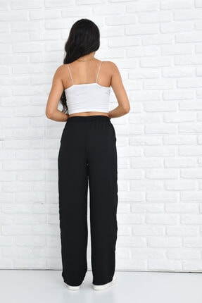 Orjinshop Kadın Siyah Palazzo Yazlık Beli Lastikli Bol Paça Tiril Aerobin Pantolon 3