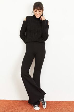 Bianco Lucci Kadın Siyah İspanyol Paça Çelik Örme Toparlayıcı Tayt 1008W1014 1