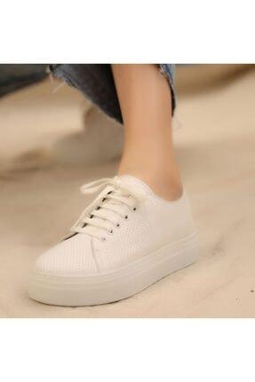 İskarpin Kadın Beyaz Kalın Tabanlı Deri Sneaker 2