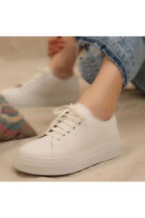 İskarpin Kadın Beyaz Kalın Tabanlı Deri Sneaker 4