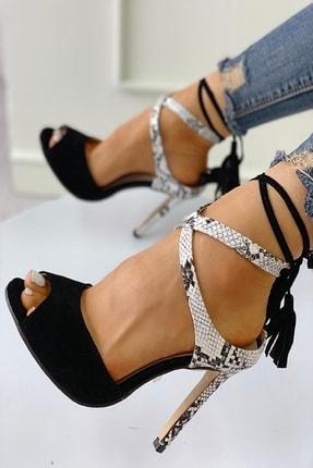 trendyes Siyah Süet Yılan Derili Püsküllü Topuklu Ayakkabı 0