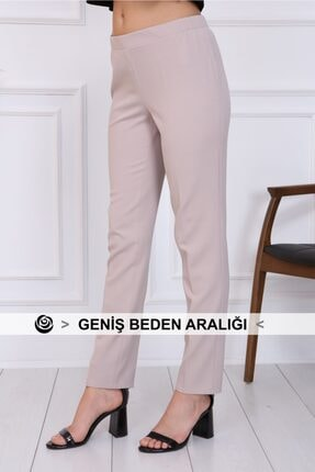 Gül Moda Bayan Büyük Beden Beli Lastikli Pantolon Bej 0