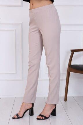 Gül Moda Bayan Büyük Beden Beli Lastikli Pantolon Bej 1