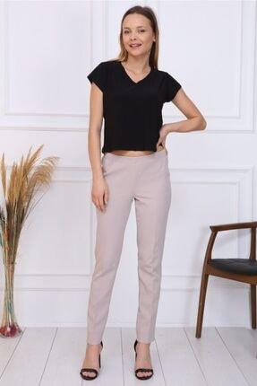 Gül Moda Bayan Büyük Beden Beli Lastikli Pantolon Bej 2
