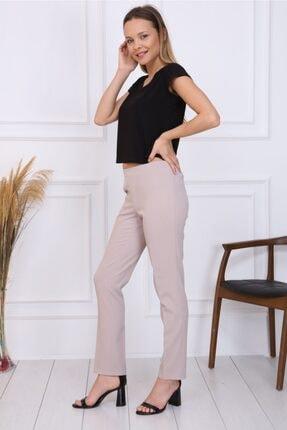 Gül Moda Bayan Büyük Beden Beli Lastikli Pantolon Bej 3
